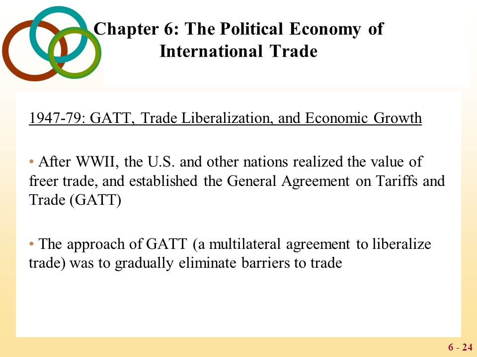 6 - 24 Chapter 6: The Political Economy of International Trade 1947-79: GATT, Trade Liberalization, and Economic Growth After WWII, the U.S. and other