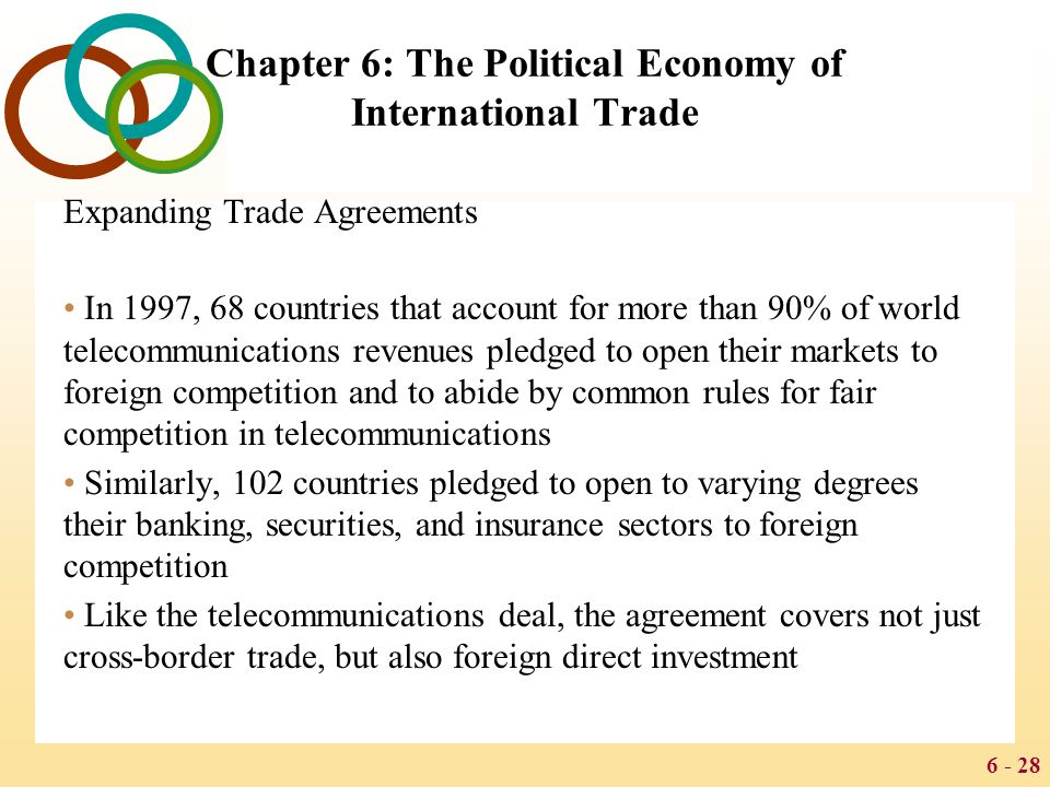 6 - 28 Chapter 6: The Political Economy of International Trade Expanding Trade Agreements In 1997, 68 countries that account for more than 90% of worl