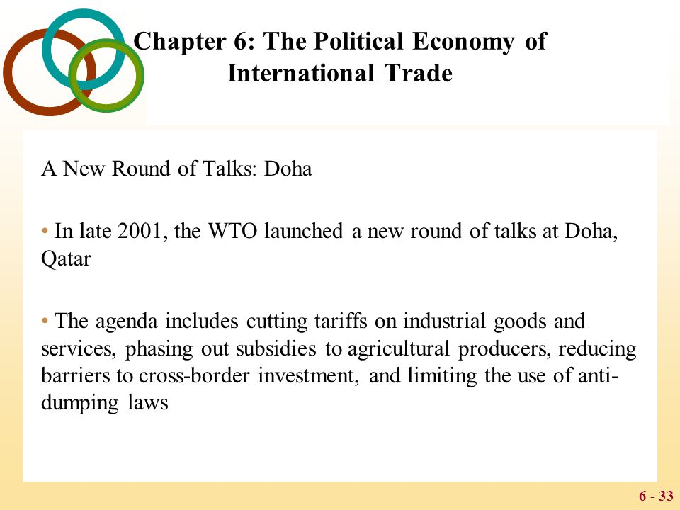 6 - 33 Chapter 6: The Political Economy of International Trade A New Round of Talks: Doha In late 2001, the WTO launched a new round of talks at Doha,