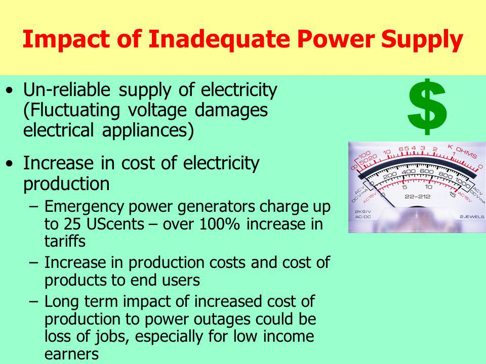 Impact of Inadequate Power Supply Un-reliable supply of electricity (Fluctuating voltage damages electrical appliances) Increase in cost of electricity production –Emergency power generators charge up to 25 UScents – over 100% increase in tariffs –Increase in production costs and cost of products to end users –Long term impact of increased cost of production to power outages could be loss of jobs, especially for low income earners $