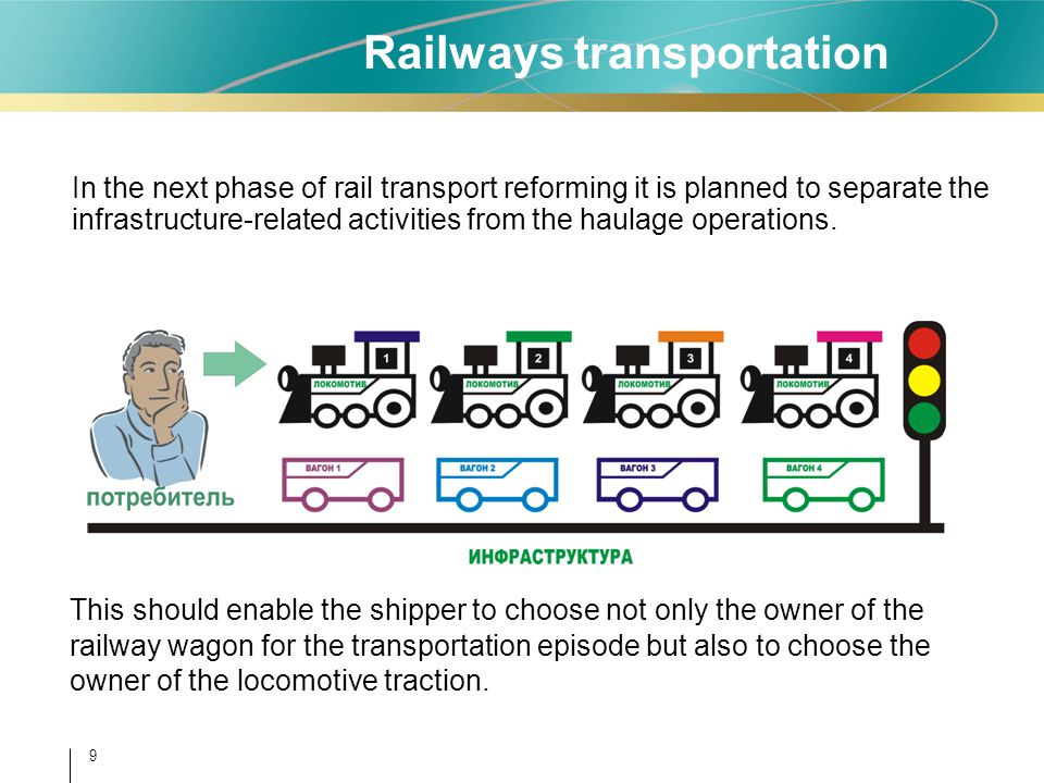 9 In the next phase of rail transport reforming it is planned to separate the infrastructure-related activities from the haulage operations. This shou