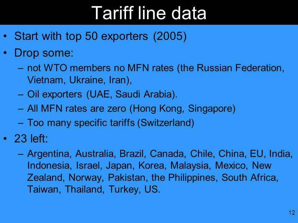 12 Tariff line data Start with top 50 exporters (2005) Drop some: –not WTO members no MFN rates (the Russian Federation, Vietnam, Ukraine, Iran), –Oil exporters (UAE, Saudi Arabia).