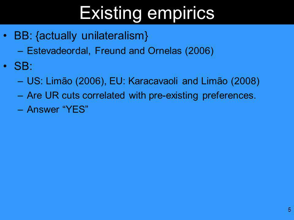 5 Existing empirics BB: {actually unilateralism} –Estevadeordal, Freund and Ornelas (2006) SB: –US: Limão (2006), EU: Karacavaoli and Limão (2008) –Are UR cuts correlated with pre-existing preferences.