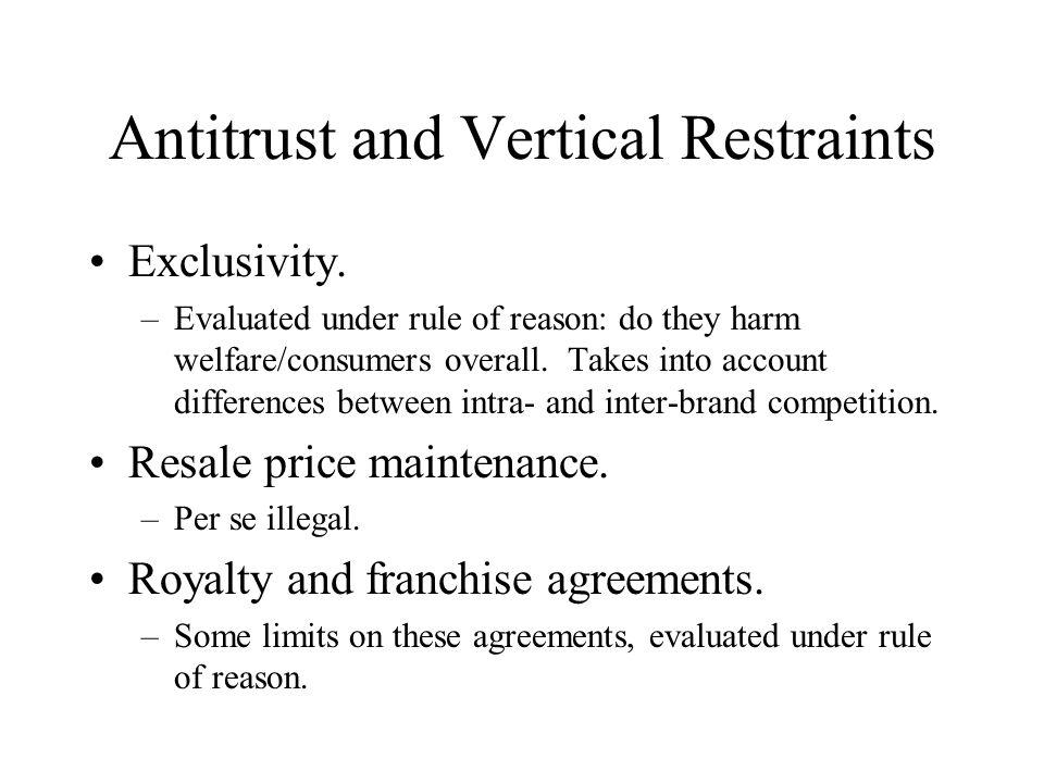 Antitrust and Vertical Restraints Exclusivity.