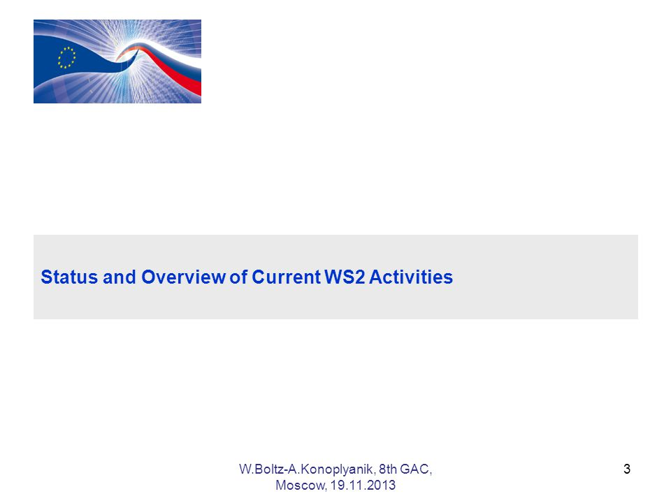 3 Status and Overview of Current WS2 Activities W.Boltz-A.Konoplyanik, 8th GAC, Moscow,