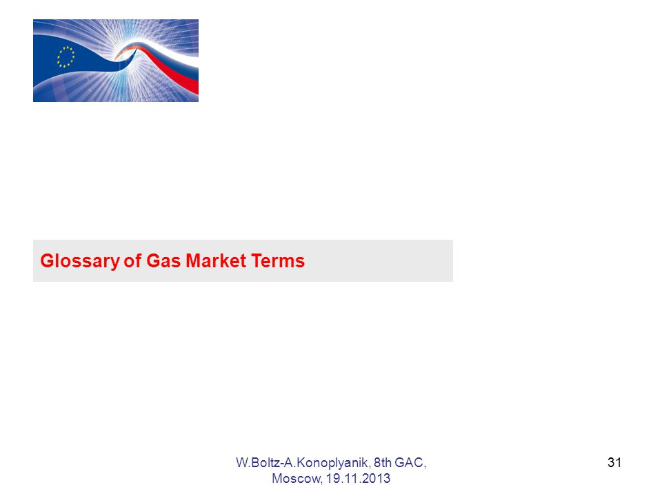 31 Glossary of Gas Market Terms W.Boltz-A.Konoplyanik, 8th GAC, Moscow,