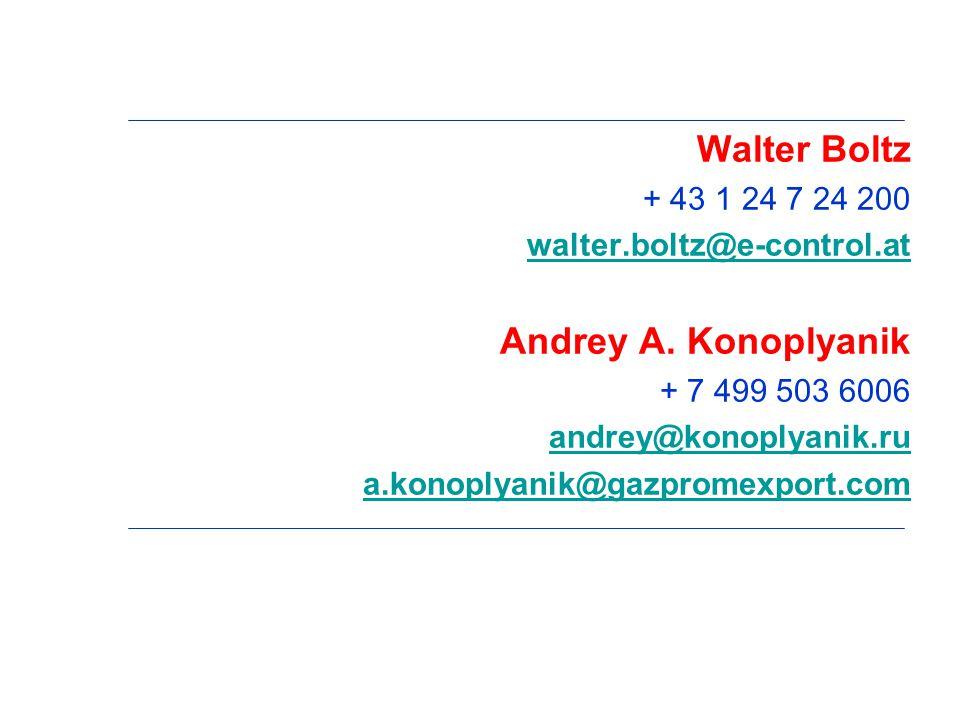 Walter Boltz + 43 1 24 7 24 200 walter.boltz@e-control.at Andrey A.