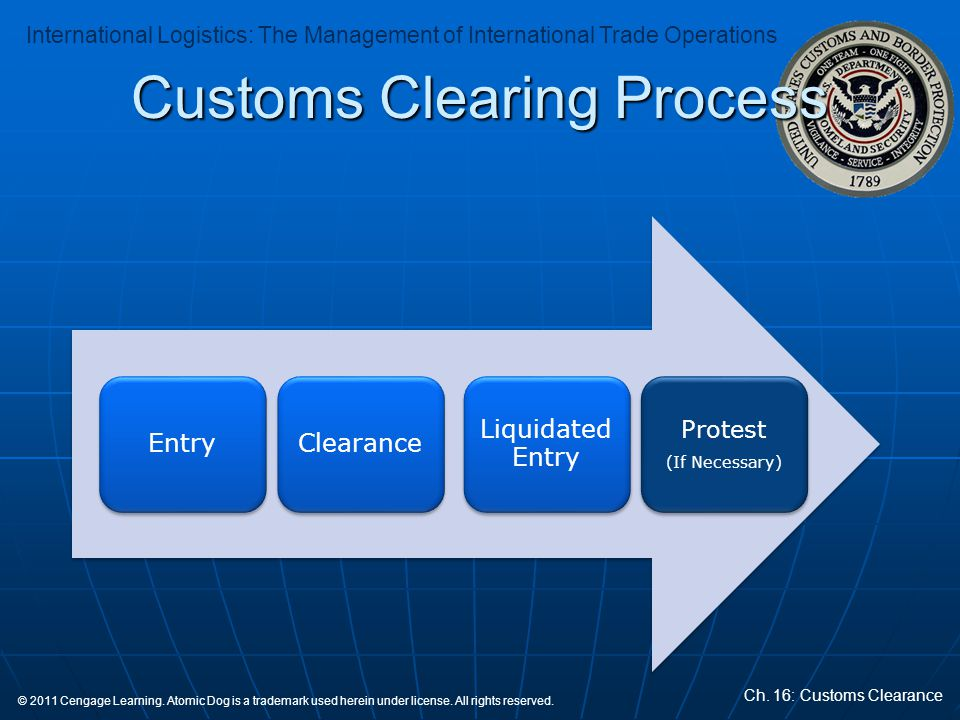 International Logistics: The Management of International Trade Operations Ch. 16: Customs Clearance © 2011 Cengage Learning. Atomic Dog is a trademark