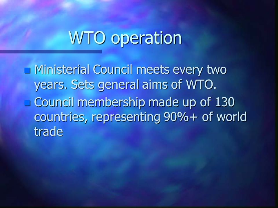 WTO Structure Ministerial Conference General Council Goods CouncilServices Council Intellectual Property Council
