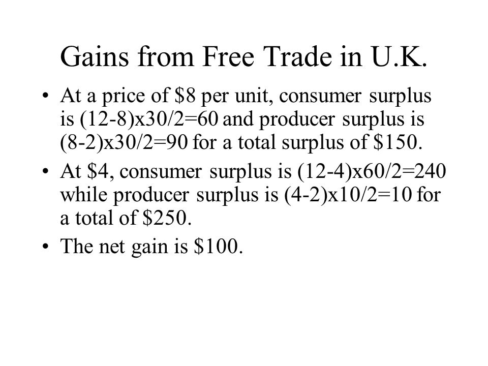 Gains from Free Trade in U.K.