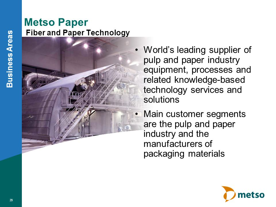 Metso Minerals Rock and Mineral Processing Worlds leading supplier of equipment and systems for rock and mineral processing Worlds broadest product and service offering Main customer segments are mining, aggregate and construction industries as well as recycling industry Business Areas 34