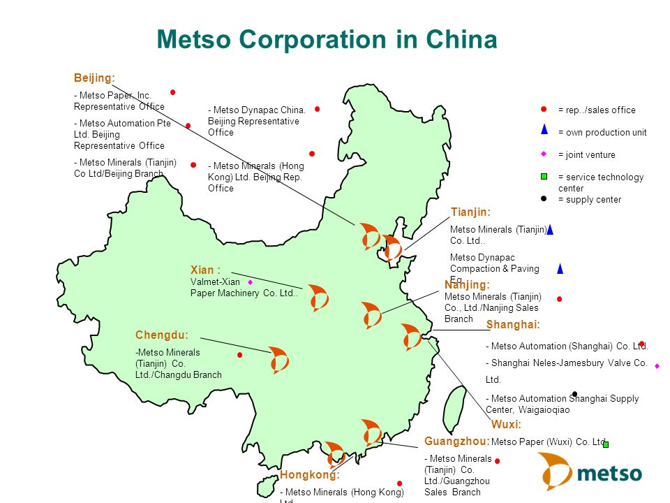 Metso Corporation in China Xian : Valmet-Xian Paper Machinery Co. Ltd.. Shanghai: - Metso Automation (Shanghai) Co. Ltd. - Shanghai Neles-Jamesbury Va