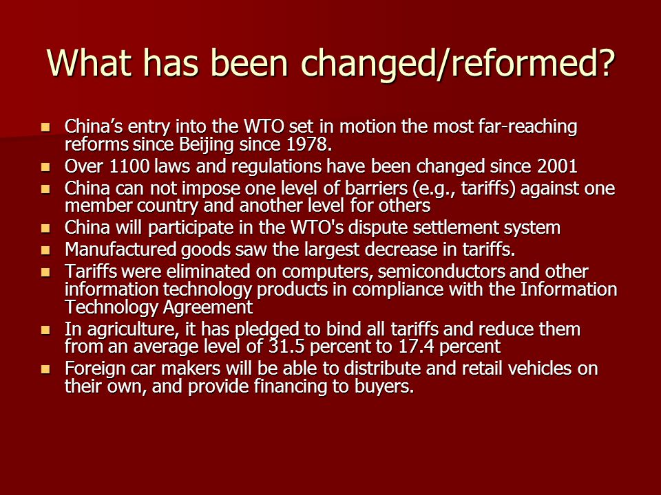 What has been changed/reformed.