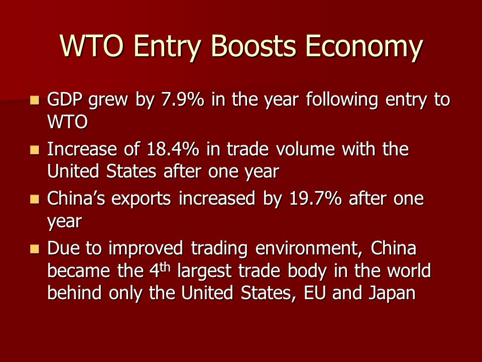 WTO Entry Boosts Economy GDP grew by 7.9% in the year following entry to WTO GDP grew by 7.9% in the year following entry to WTO Increase of 18.4% in trade volume with the United States after one year Increase of 18.4% in trade volume with the United States after one year Chinas exports increased by 19.7% after one year Chinas exports increased by 19.7% after one year Due to improved trading environment, China became the 4 th largest trade body in the world behind only the United States, EU and Japan Due to improved trading environment, China became the 4 th largest trade body in the world behind only the United States, EU and Japan