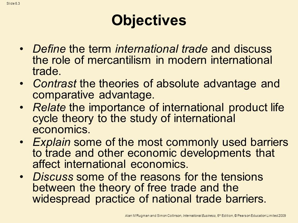 Slide 6.3 Alan M Rugman and Simon Collinson, International Business, 5 th Edition, © Pearson Education Limited 2009 Objectives Define the term interna