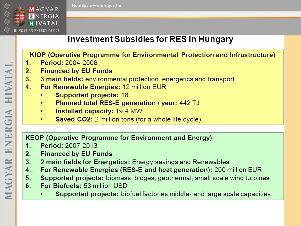 Investment Subsidies for RES in Hungary KIOP (Operative Programme for Environmental Protection and Infrastructure) 1.Period: 2004-2006 2.Financed by E