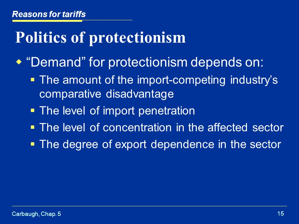 Carbaugh, Chap. 5 15 Politics of protectionism Demand for protectionism depends on: The amount of the import-competing industrys comparative disadvant
