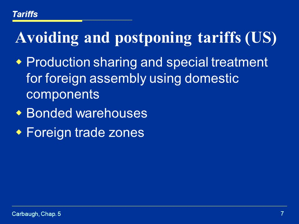 Carbaugh, Chap. 5 7 Avoiding and postponing tariffs (US) Production sharing and special treatment for foreign assembly using domestic components Bonde