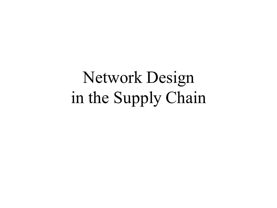 Network Design in the Supply Chain
