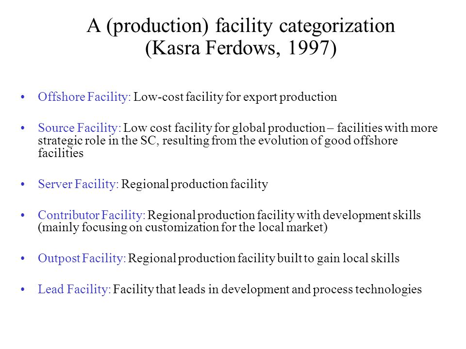 A (production) facility categorization (Kasra Ferdows, 1997) Offshore Facility: Low-cost facility for export production Source Facility: Low cost faci