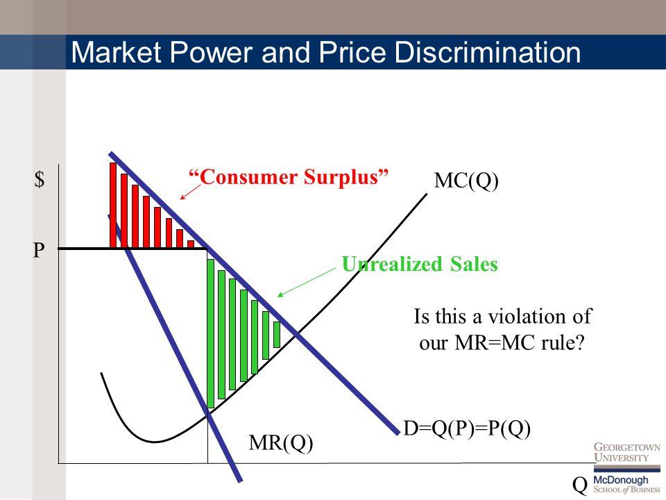 MC(Q) $ Q Market Power and Price Discrimination P D=Q(P)=P(Q) MR(Q) Consumer Surplus Unrealized Sales Is this a violation of our MR=MC rule?