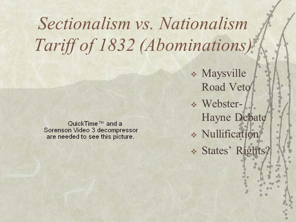 Sectionalism vs. Nationalism Tariff of 1832 (Abominations) Maysville Road Veto Webster- Hayne Debate Nullification States Rights?