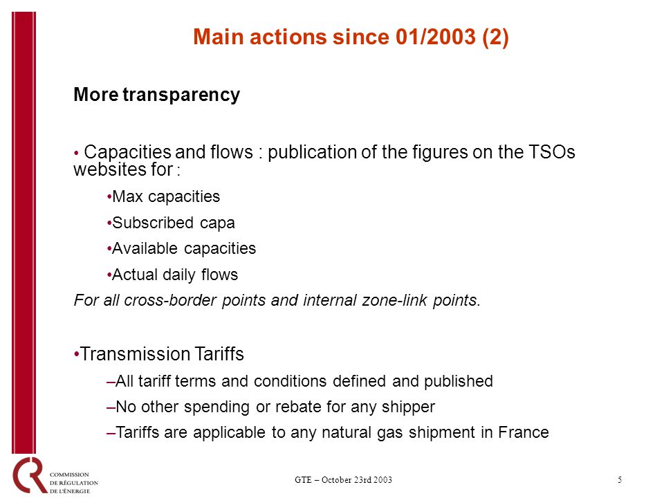 5GTE – October 23rd 2003 Main actions since 01/2003 (2) More transparency Capacities and flows : publication of the figures on the TSOs websites for : Max capacities Subscribed capa Available capacities Actual daily flows For all cross-border points and internal zone-link points.