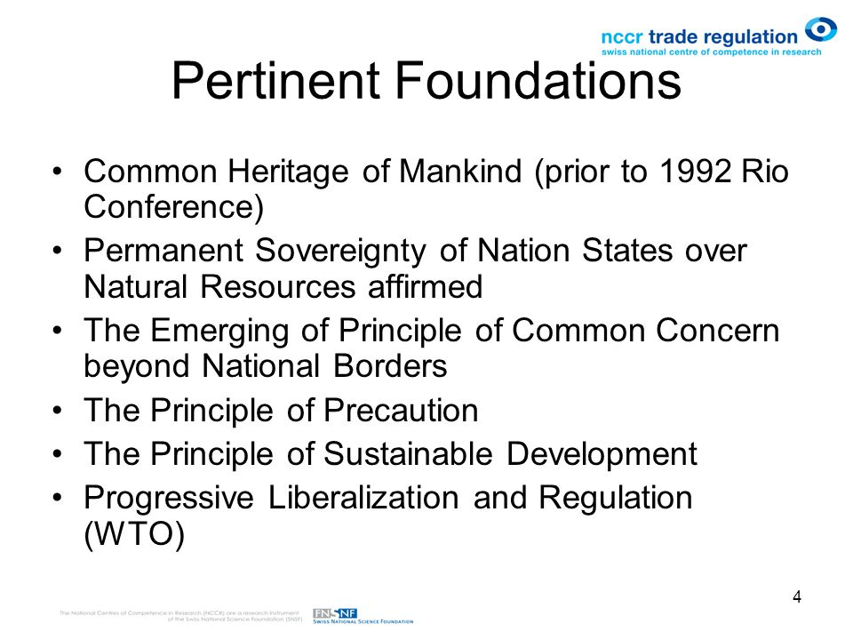 4 Pertinent Foundations Common Heritage of Mankind (prior to 1992 Rio Conference) Permanent Sovereignty of Nation States over Natural Resources affirmed The Emerging of Principle of Common Concern beyond National Borders The Principle of Precaution The Principle of Sustainable Development Progressive Liberalization and Regulation (WTO)