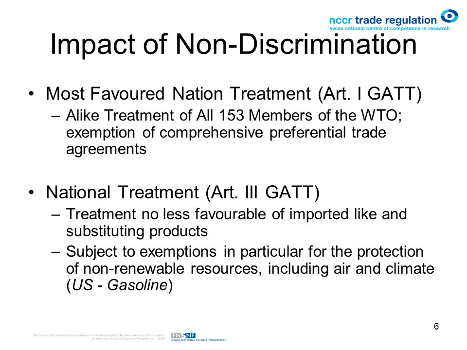 6 Impact of Non-Discrimination Most Favoured Nation Treatment (Art.