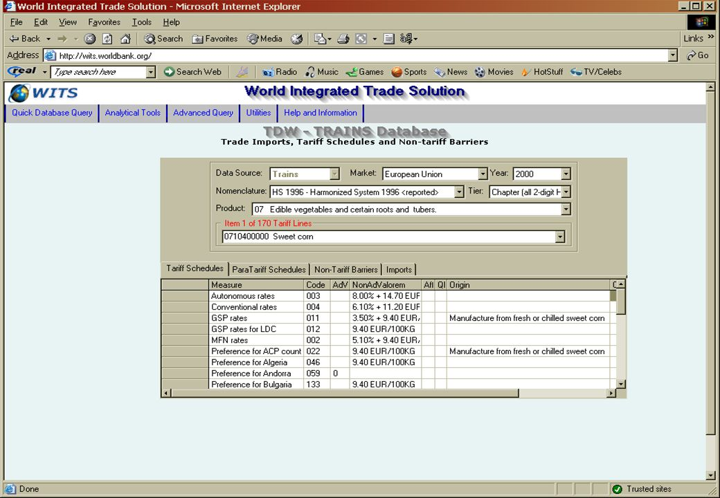 Quick Query Direct access to the Database –By country and/or by product –Export raw data –Extraction by criteria
