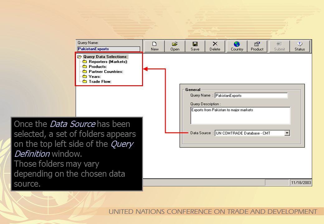 The Advanced Query is a more complex but more powerful and flexible tool for sophisticated queries : –Can retrieve trade for several years, partners and products with a single query; –Can retrieve aggregated trade for groups of countries or products; The process goes through two steps : –The user defines, saves and submits his query –The server runs the query and notifies when results are ready.