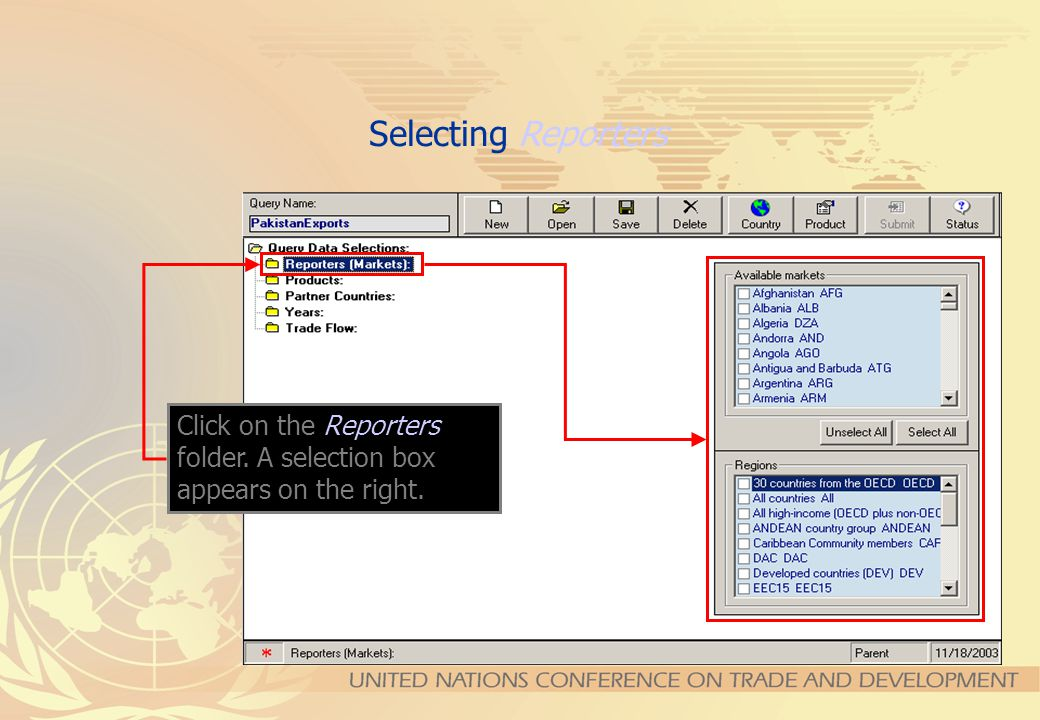 Once the Data Source has been selected, a set of folders appears on the top left side of the Query Definition window. Those folders may vary depending