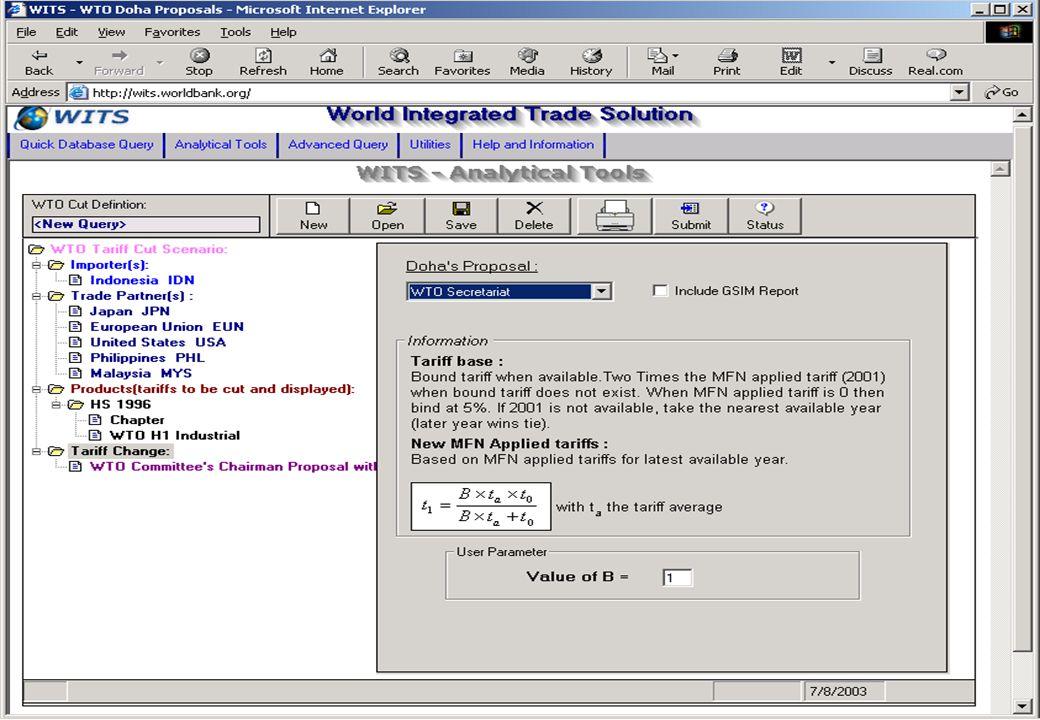 Part I : Trade statistics – Data extraction tools – Example: tariff peaks and escalation Part II: Trade liberalization simulations – The model: assump