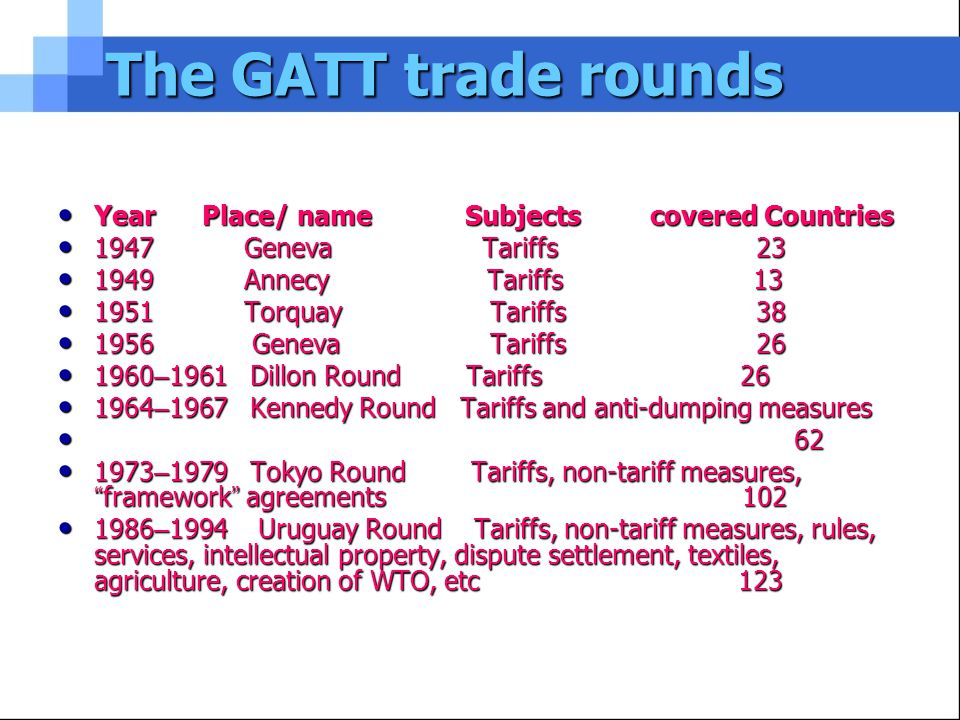 The GATT trade rounds Year Place/ name Subjects covered Countries Year Place/ name Subjects covered Countries 1947 Geneva Tariffs 23 1947 Geneva Tariffs 23 1949 Annecy Tariffs 13 1949 Annecy Tariffs 13 1951 Torquay Tariffs 38 1951 Torquay Tariffs 38 1956 Geneva Tariffs 26 1956 Geneva Tariffs 26 1960 – 1961 Dillon Round Tariffs 26 1960 – 1961 Dillon Round Tariffs 26 1964 – 1967 Kennedy Round Tariffs and anti-dumping measures 1964 – 1967 Kennedy Round Tariffs and anti-dumping measures 62 62 1973 – 1979 Tokyo Round Tariffs, non-tariff measures, framework agreements 102 1973 – 1979 Tokyo Round Tariffs, non-tariff measures, framework agreements 102 1986 – 1994 Uruguay Round Tariffs, non-tariff measures, rules, services, intellectual property, dispute settlement, textiles, agriculture, creation of WTO, etc 123 1986 – 1994 Uruguay Round Tariffs, non-tariff measures, rules, services, intellectual property, dispute settlement, textiles, agriculture, creation of WTO, etc 123