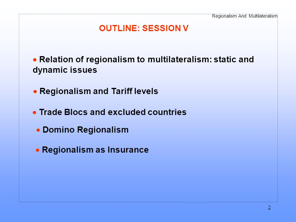 Regionalism And Multilateralism 13 Figure 8.4 Domino Regionalism -4 -3 -2 0 1 2 3 01234 Number of Blocs Welfare relative to non- discrimination Inside Outside World ….