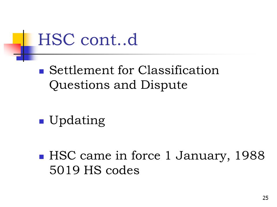 HSC cont..d Settlement for Classification Questions and Dispute Updating HSC came in force 1 January, 1988 5019 HS codes 25