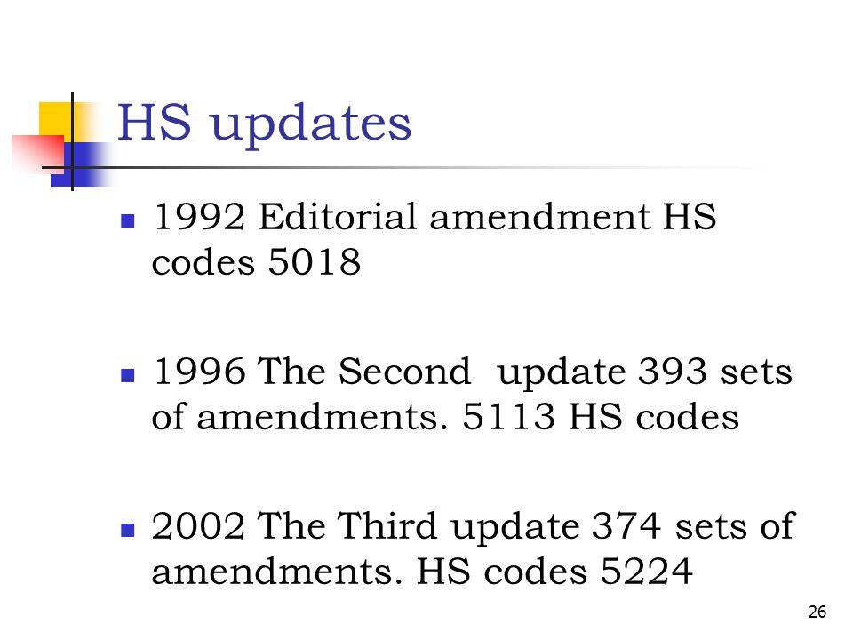 HS updates 1992 Editorial amendment HS codes 5018 1996 The Second update 393 sets of amendments. 5113 HS codes 2002 The Third update 374 sets of amend