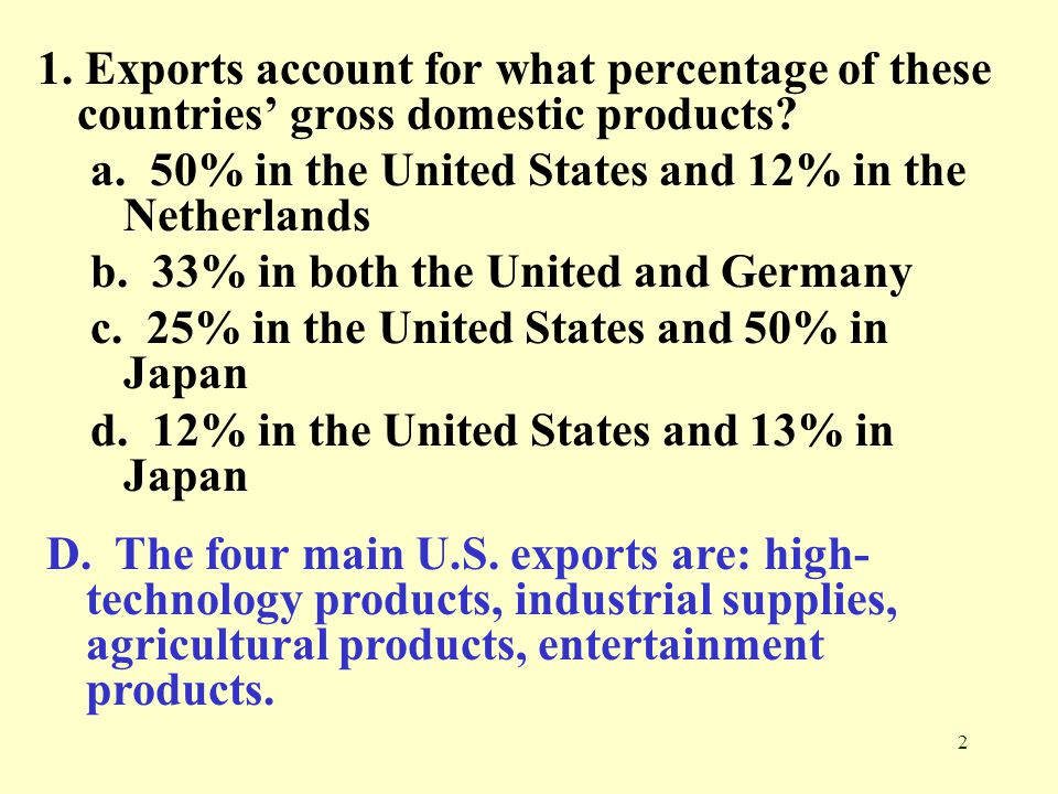 2 1. Exports account for what percentage of these countries gross domestic products? a. 50% in the United States and 12% in the Netherlands b. 33% in