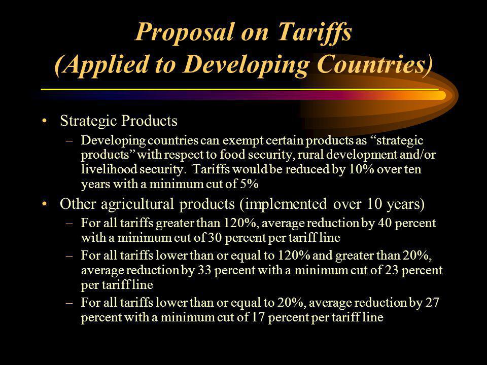Proposal on Tariffs (Applied to Developing Countries) Strategic Products –Developing countries can exempt certain products as strategic products with respect to food security, rural development and/or livelihood security.