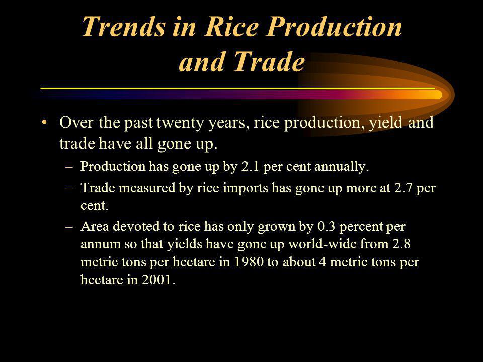 Trends in Rice Production and Trade Over the past twenty years, rice production, yield and trade have all gone up.