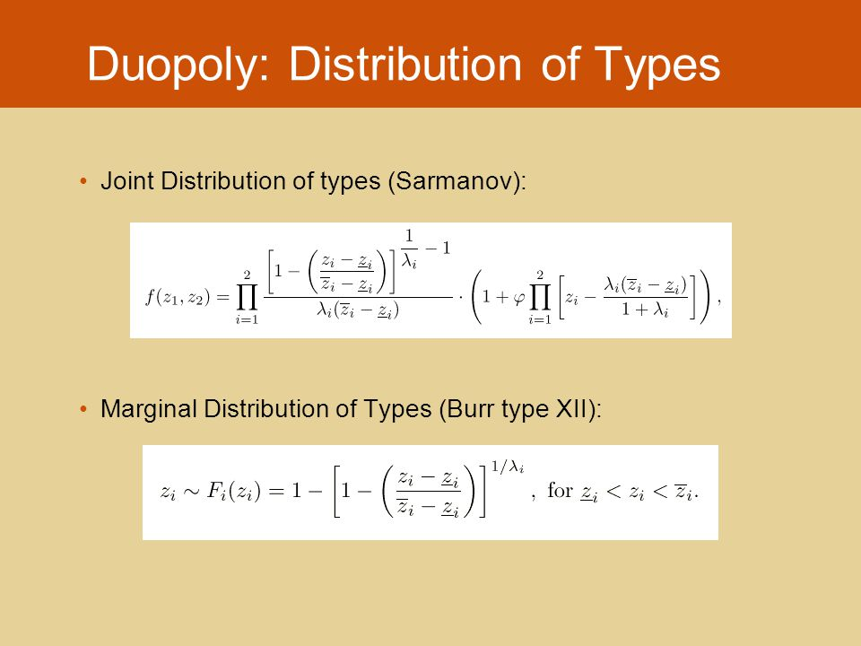 Duopoly: Distribution of Types Joint Distribution of types (Sarmanov): Marginal Distribution of Types (Burr type XII):