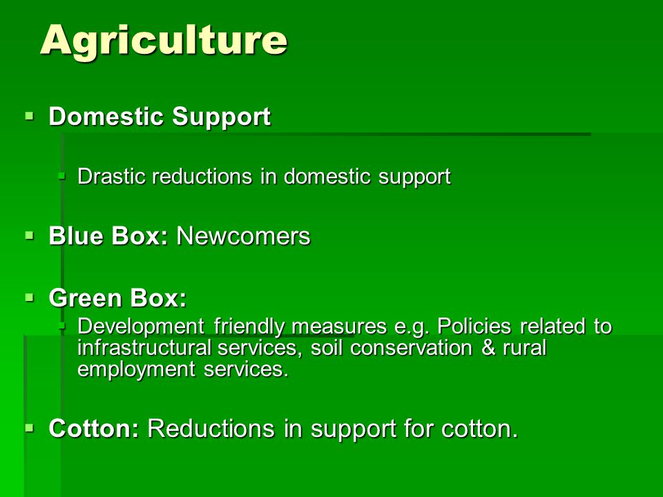 Agriculture Domestic Support Domestic Support Drastic reductions in domestic support Drastic reductions in domestic support Blue Box: Newcomers Blue Box: Newcomers Green Box: Green Box: Development friendly measures e.g.