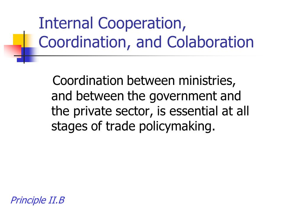 Internal Cooperation, Coordination, and Colaboration Coordination between ministries, and between the government and the private sector, is essential