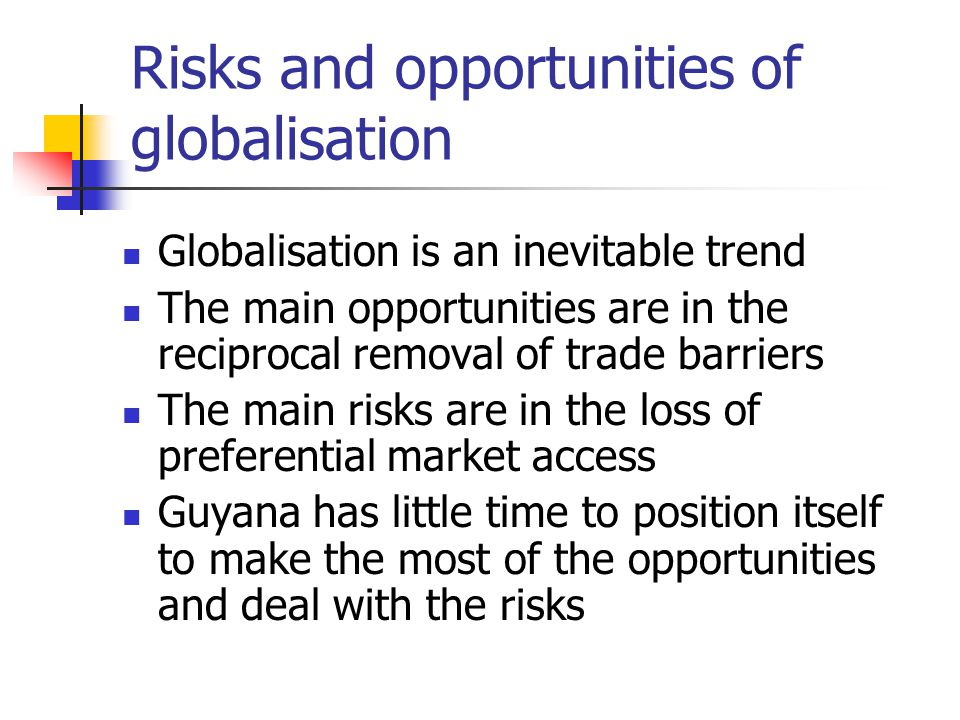 Risks and opportunities of globalisation Globalisation is an inevitable trend The main opportunities are in the reciprocal removal of trade barriers T