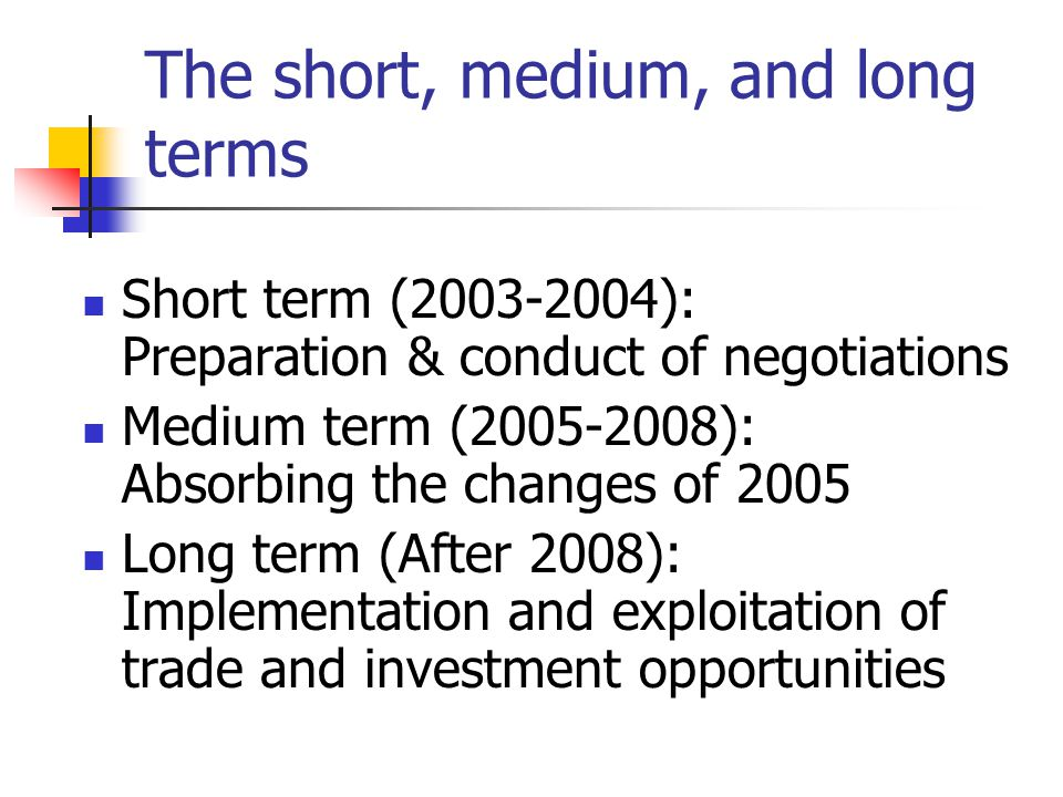 The short, medium, and long terms Short term (2003-2004): Preparation & conduct of negotiations Medium term (2005-2008): Absorbing the changes of 2005