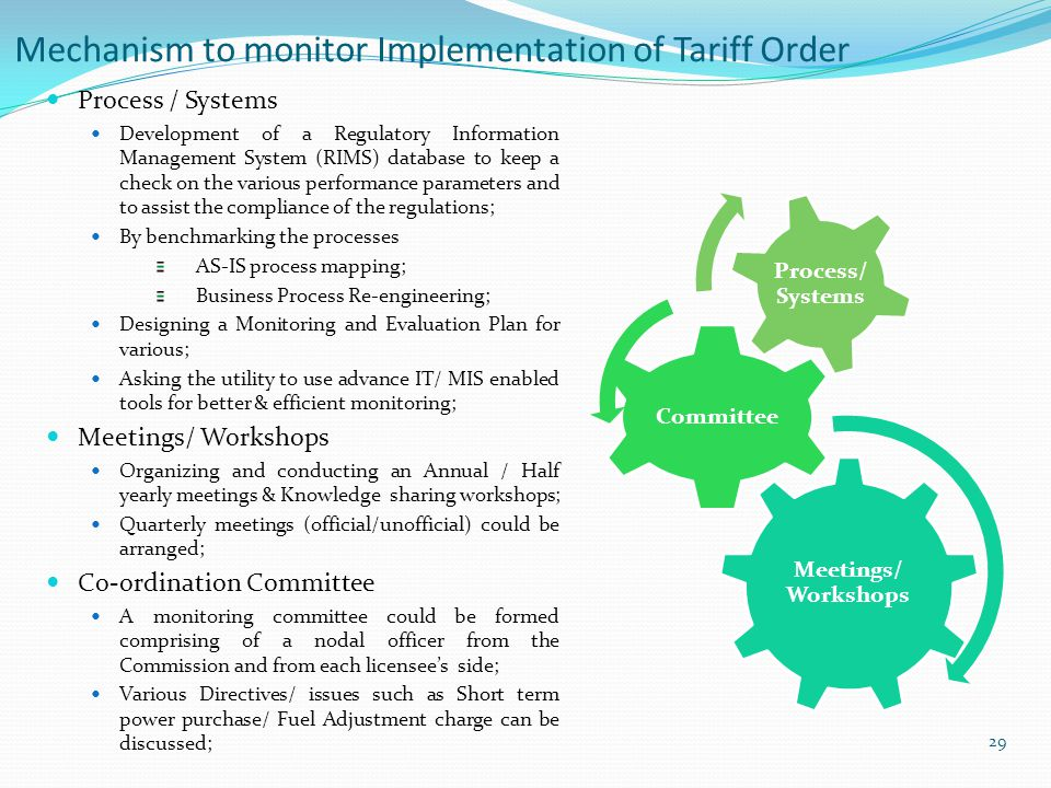 Mechanism to monitor Implementation of Tariff Order 29 Process / Systems Development of a Regulatory Information Management System (RIMS) database to