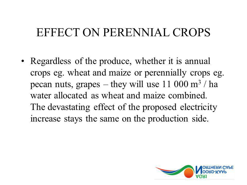EFFECT ON PERENNIAL CROPS Regardless of the produce, whether it is annual crops eg. wheat and maize or perennially crops eg. pecan nuts, grapes – they