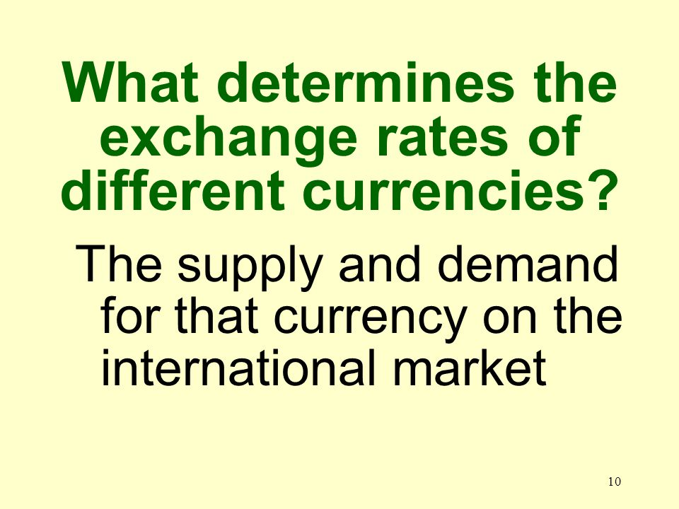 10 The supply and demand for that currency on the international market What determines the exchange rates of different currencies