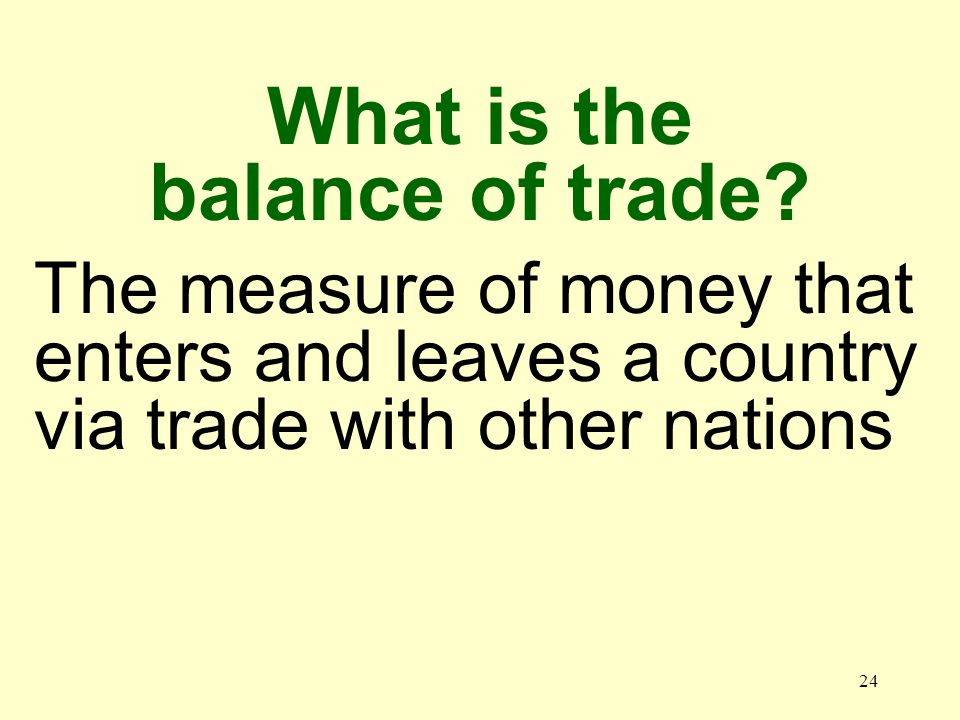 24 The measure of money that enters and leaves a country via trade with other nations What is the balance of trade