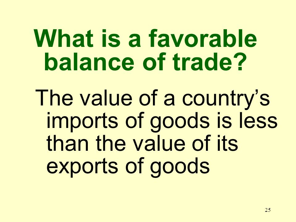 25 The value of a countrys imports of goods is less than the value of its exports of goods What is a favorable balance of trade